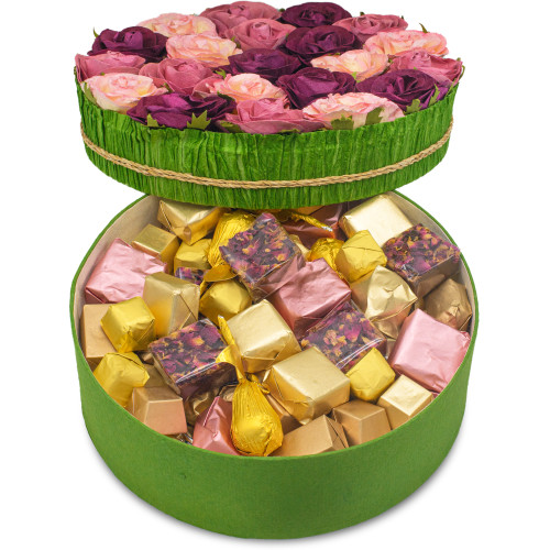 ASSORTED FLOWER GIFT BOX -  Assorted Belgian Chocolate / 1.6 lb