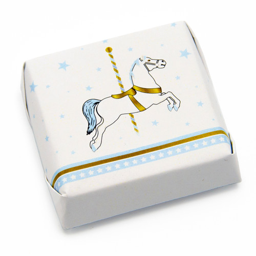White and blue horse on white paper double wrapped chocolate square. 2 inches by 2 inches