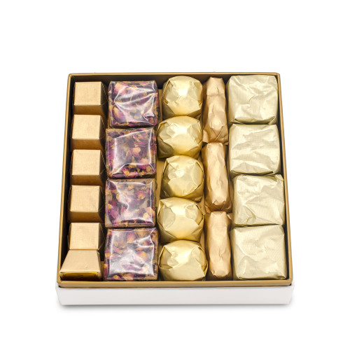 PICCOLLO CLASSIC - Mirelli Chocolate Gift Box displaying 5 rows of individually wrapped chocolates