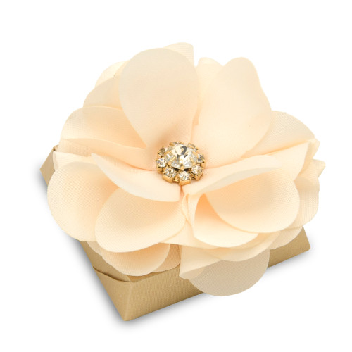 Decorated Chocolate w/Organza Flower Peach Color