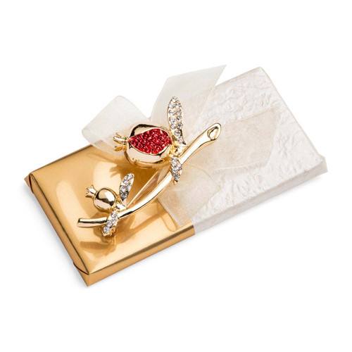 Gold Chocolate Pomegranate Brooch