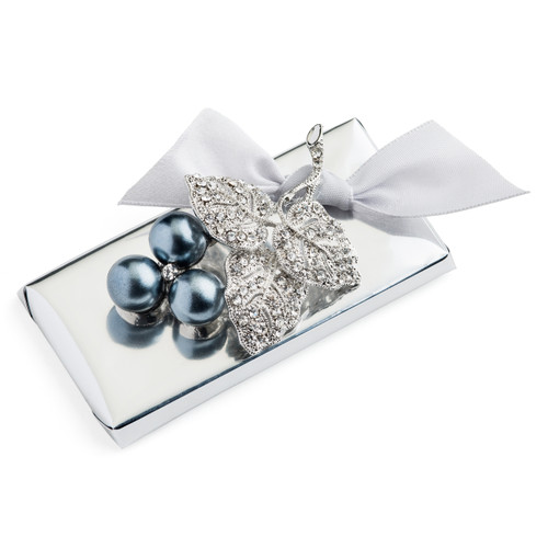 Decorated Chrome Wrapping Cherry Cluster Silver Brooch