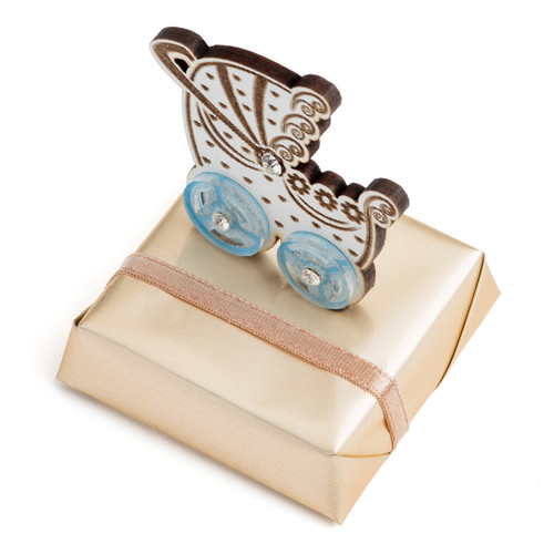 Decorated Baby Chocolate w/Blue Baby Carriage