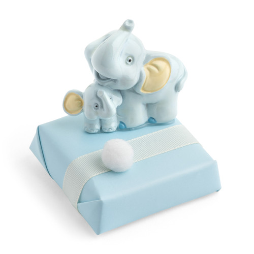 Decorated Chocolate Elephant and Son Magnet/Blue