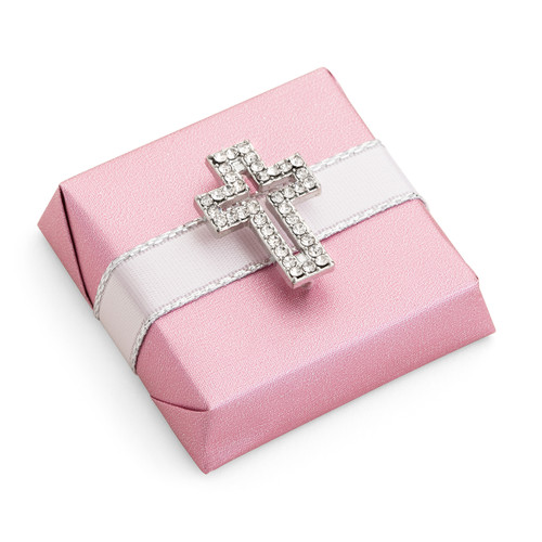 Decorated Chocolate Gold Wrap w/Rhinestone Cross-Pink
