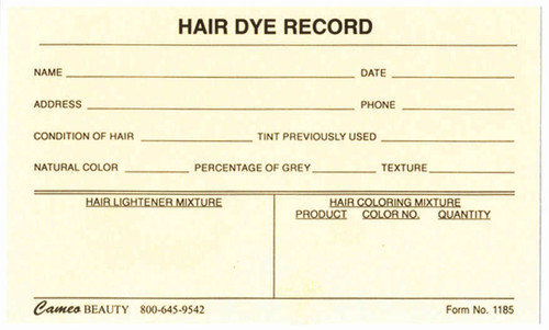Hair Dye Cards, Front