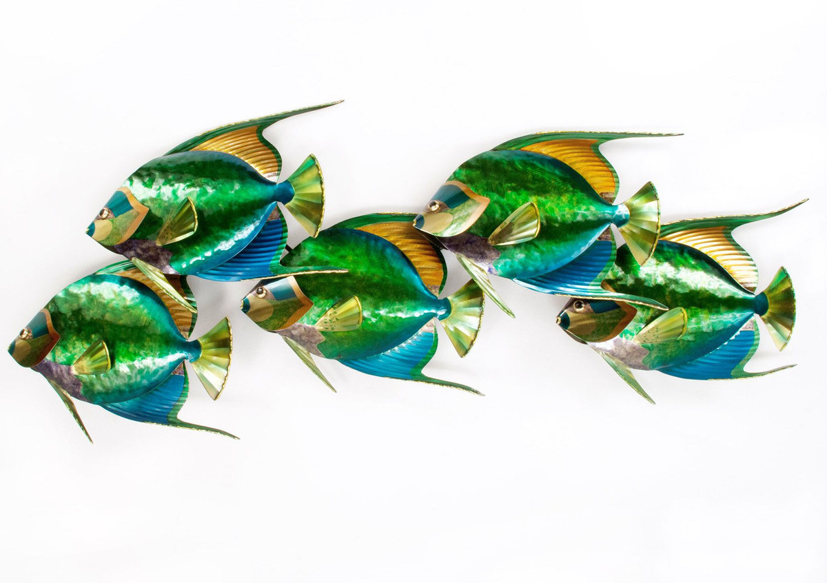 Queen Angelfish School of 5 - Metal Wall Art