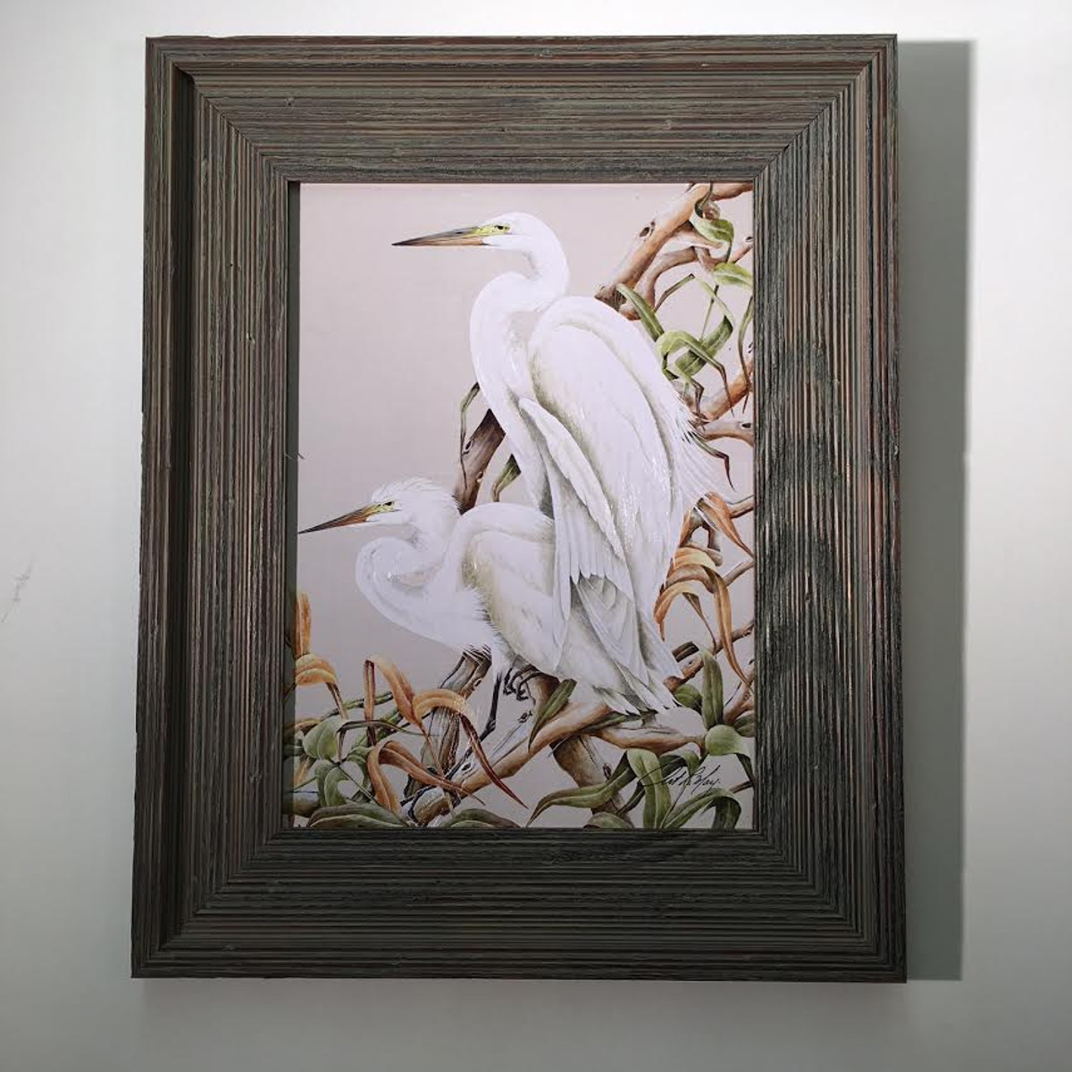 "Egrets on Branch Framed Artwork 21"" x 17"""