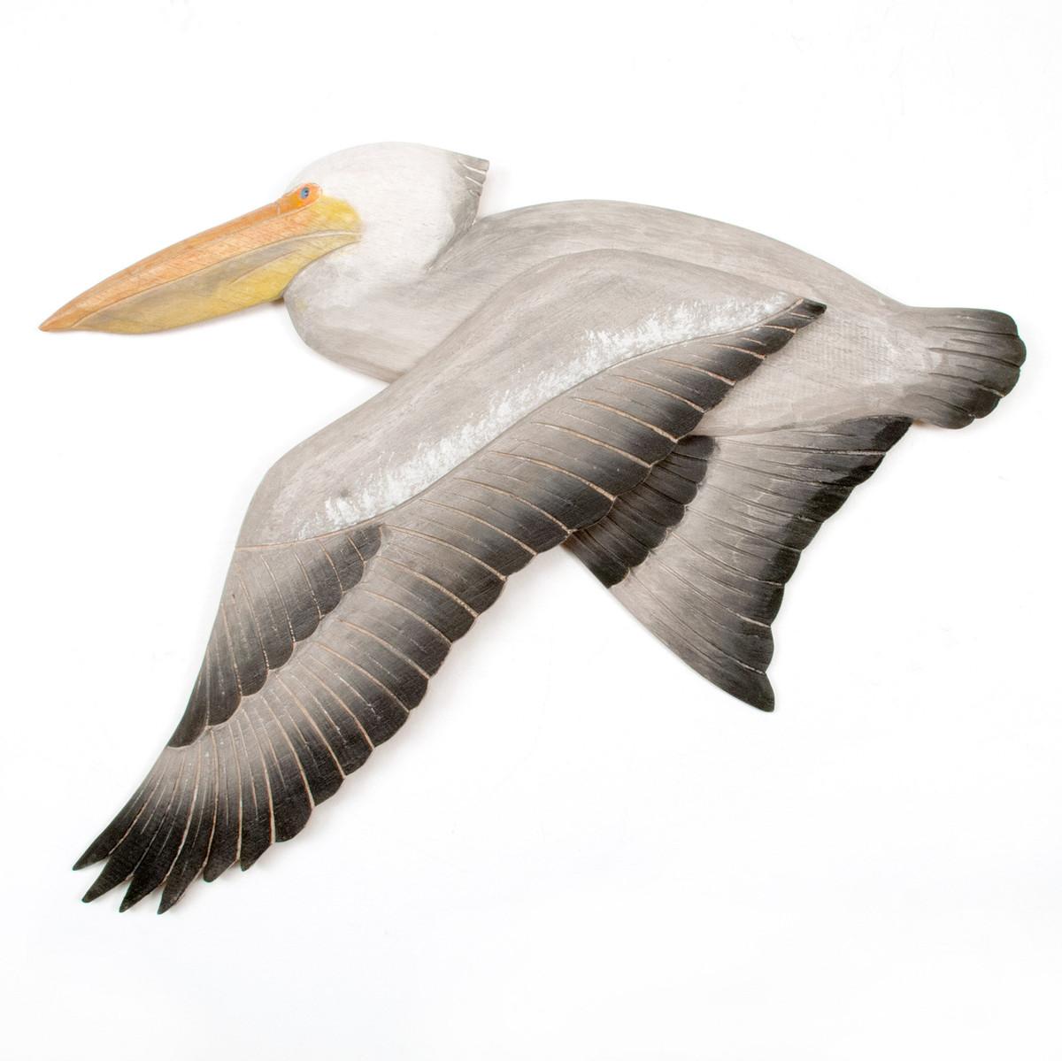 White Pelican Flying Wooden Wall Art CW326