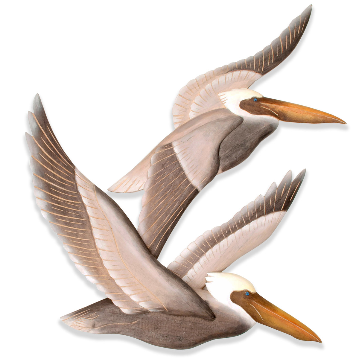 Carved Wooden Pelicans in Flight CW323