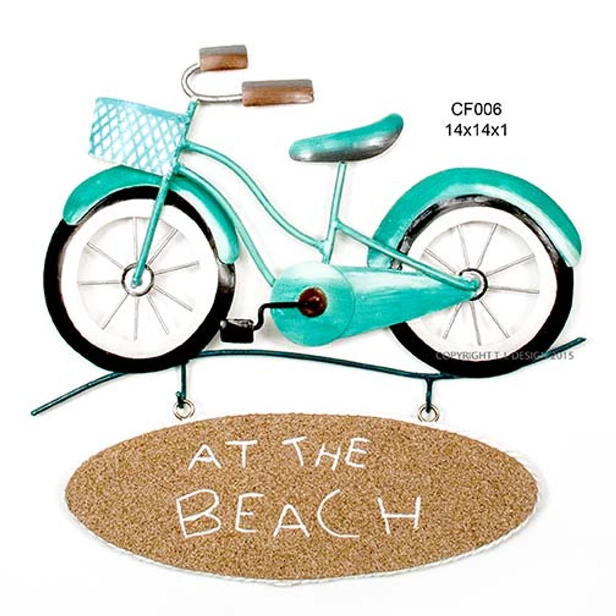 Beach Bike Sign (At the Beach) Metal Wall Art