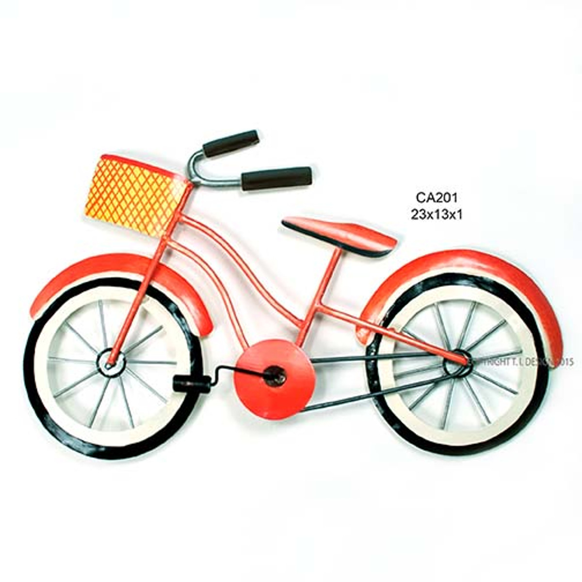 Beach Cruiser Orange Metal Wall Art
