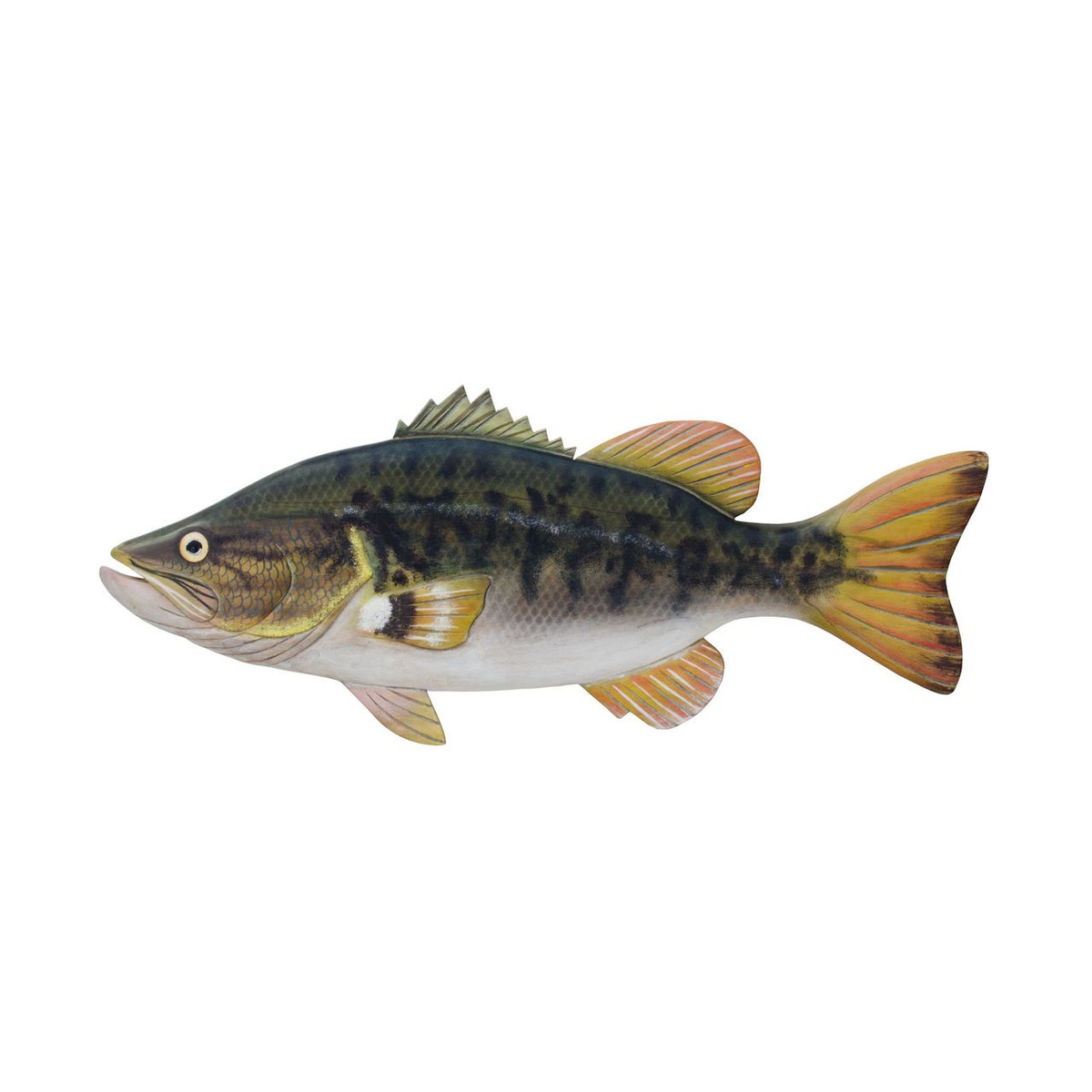 Large Mouth Bass Hand Carved Wall Sculpture