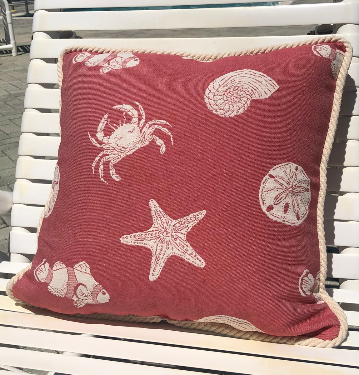 Traditional Nautical Red Pillow Sea Life 18 x 18