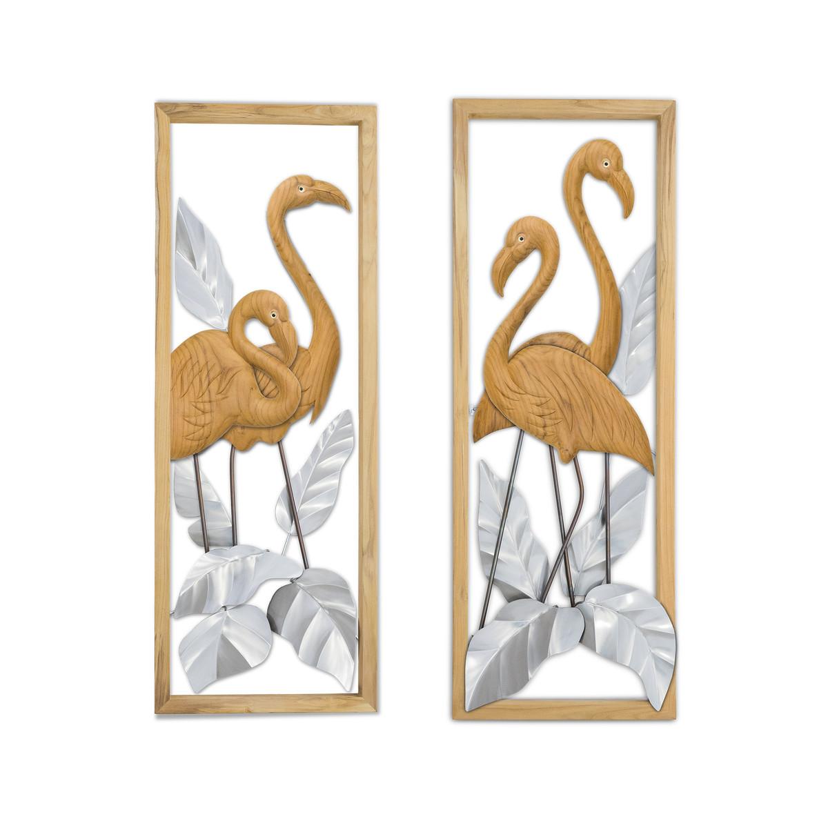 Flamingo Pair Teak in Frame SS Leaves R/L