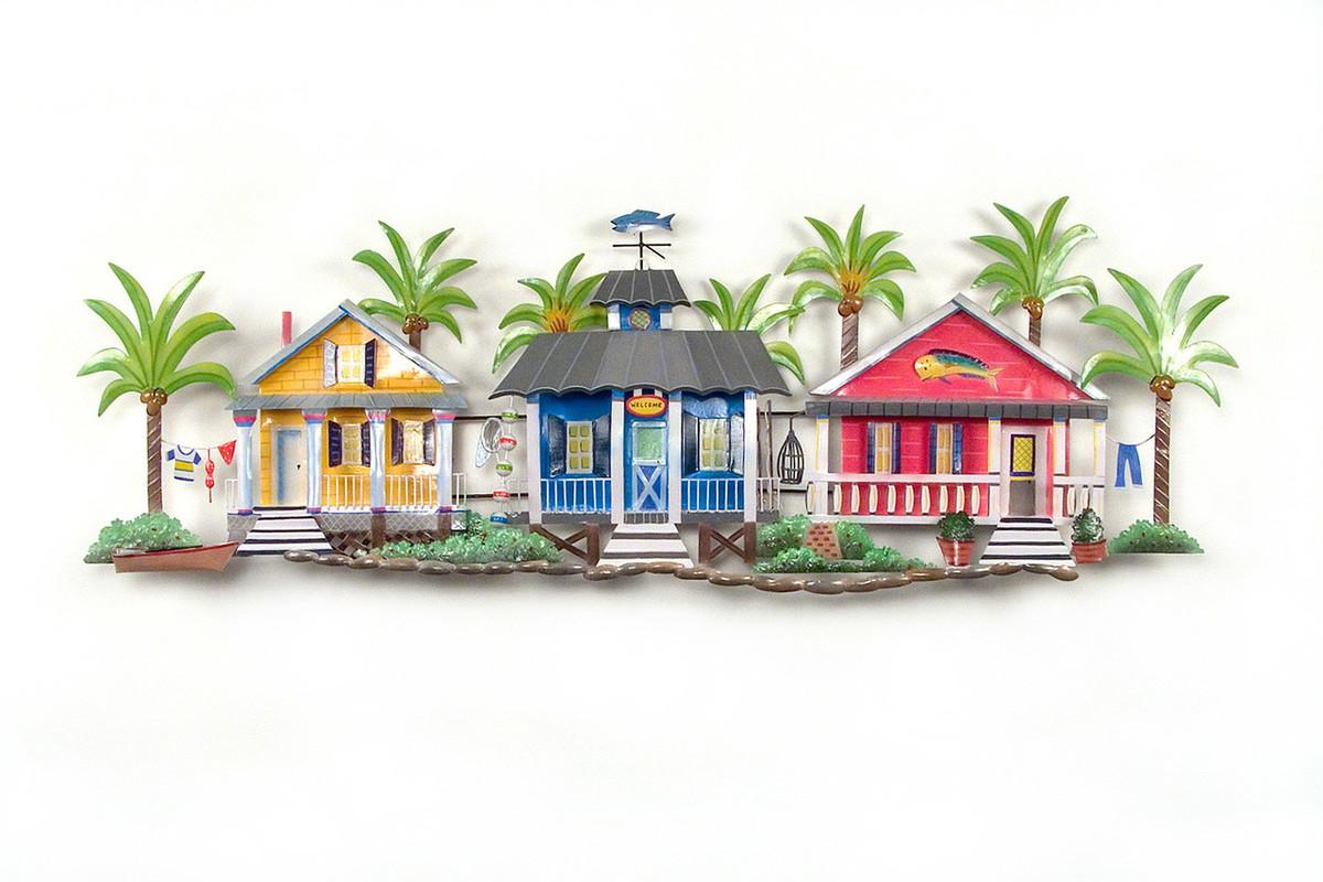 Caribbean Village Metal Wall Sculpture