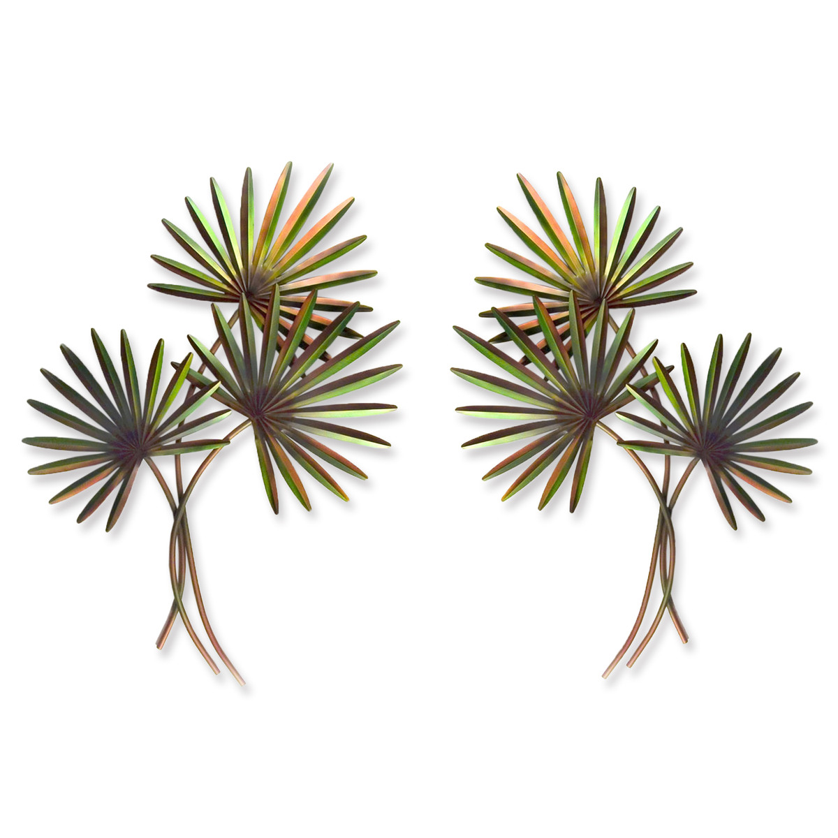 Pair of Fan Palms Arching - Left and Right