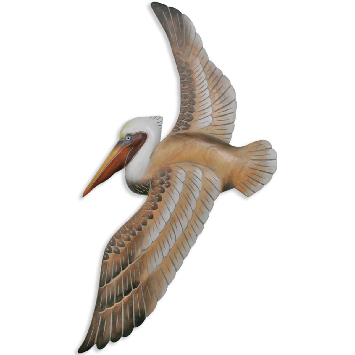 Nautical Coastal Flying Pelican Wall Art