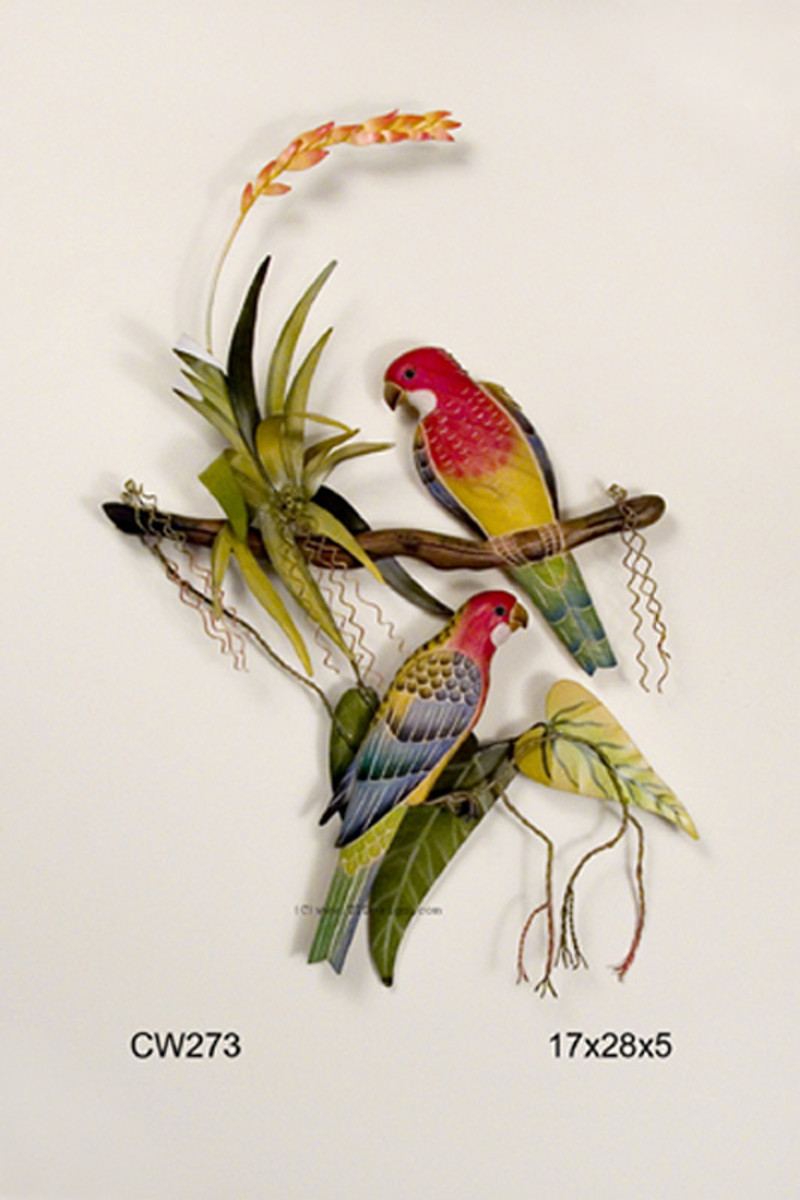 Tropical Rosellas on a Branch Metal Wall Hanging