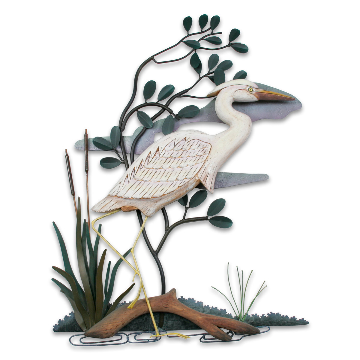 White Heron - Facing Right Hand Carved Wood