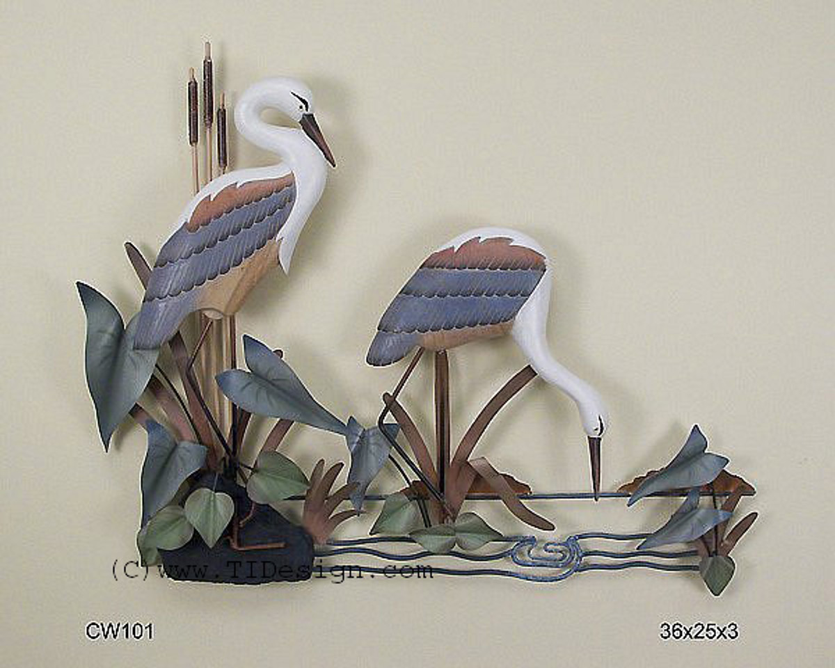 Herons Wall Sculpture Hand Carved Birds