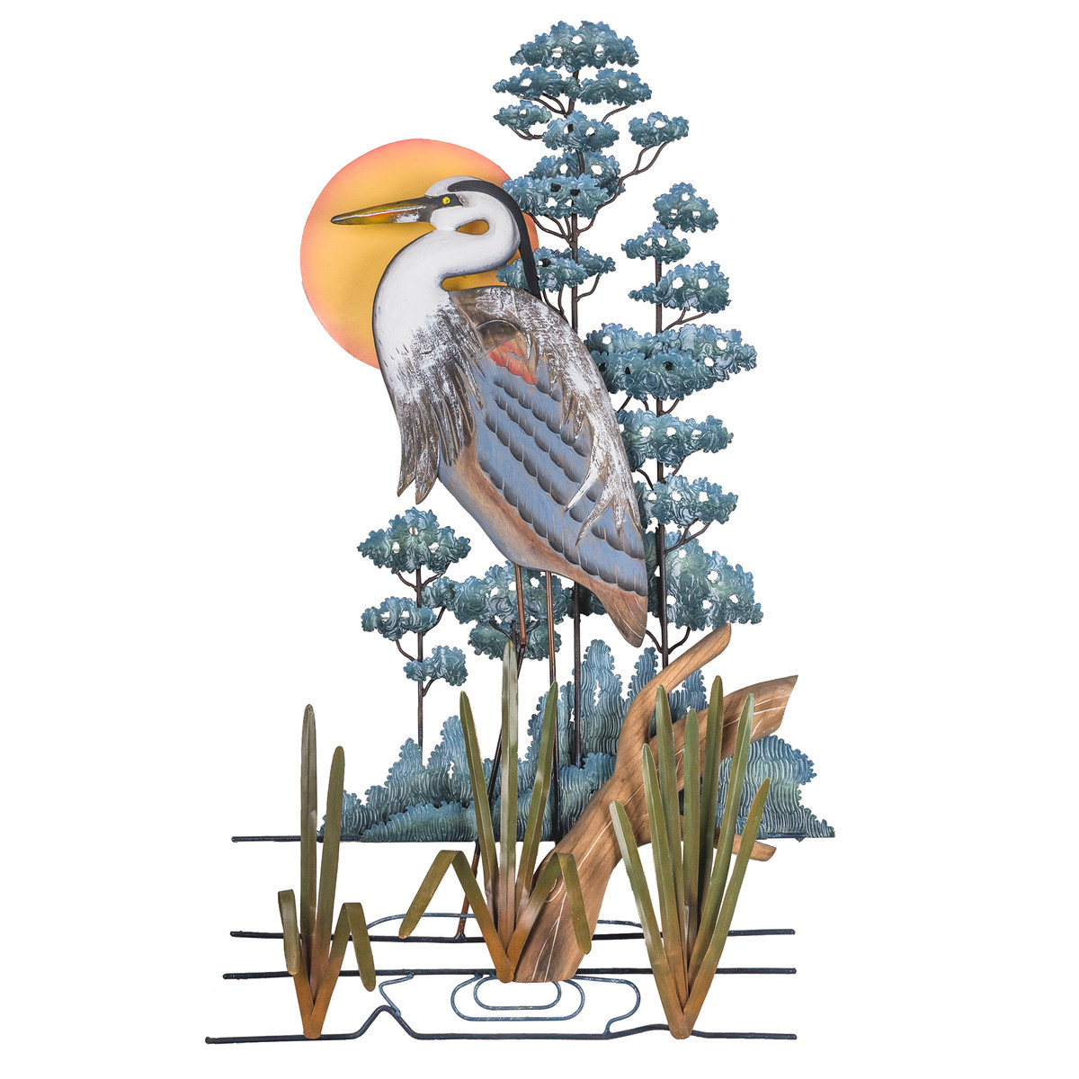 Great Blue Heron Hand Carved Wood