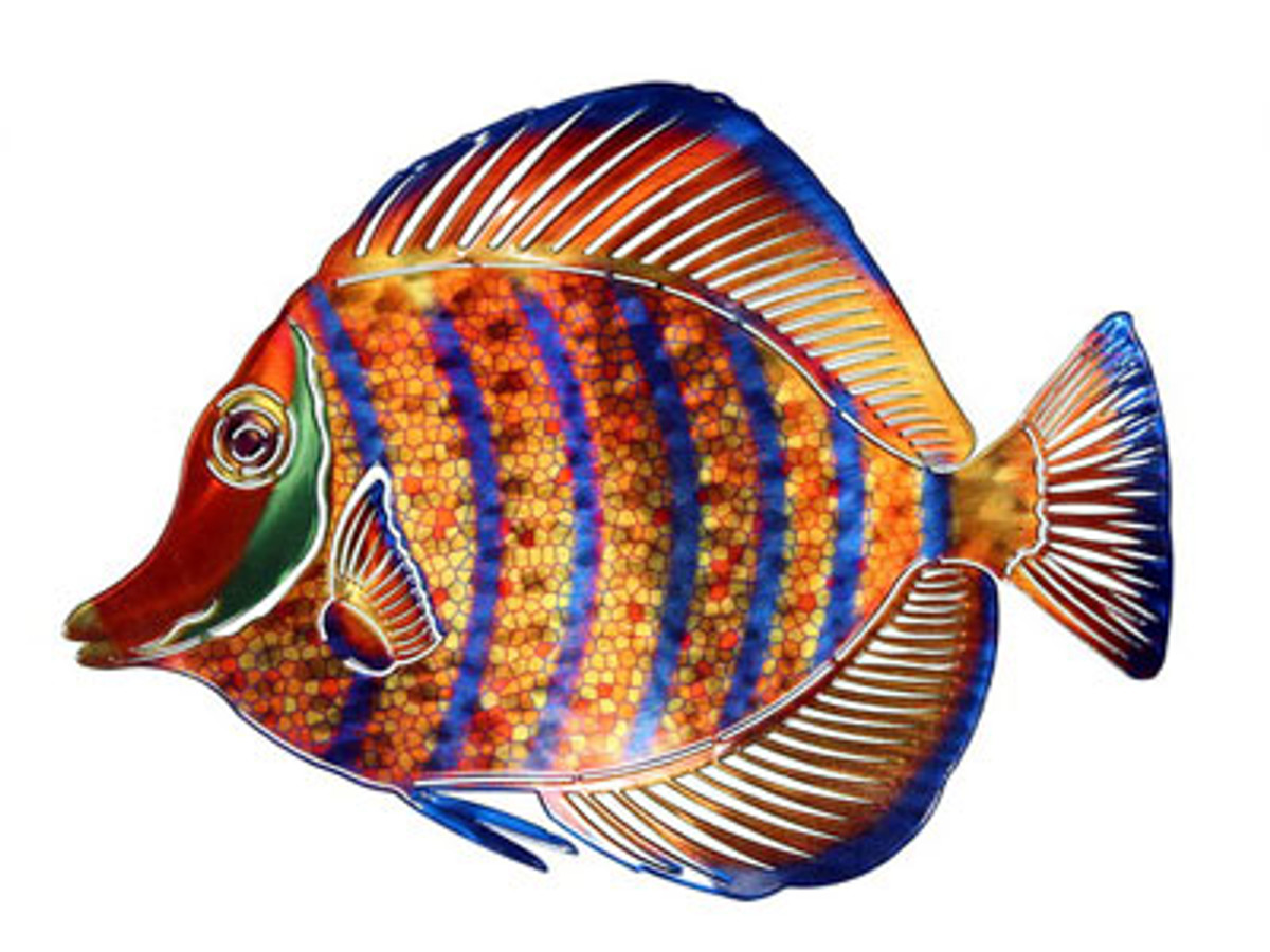 3D Angelfish Striped Metal Wall Art