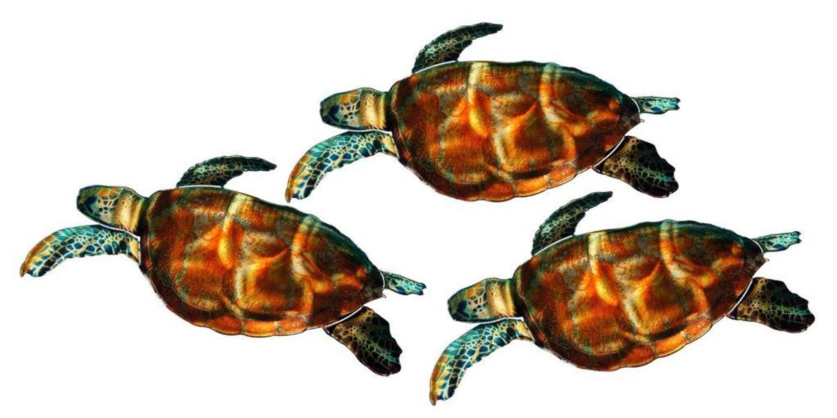 3D Sea Turtles - Set of 3 Metal Wall Art