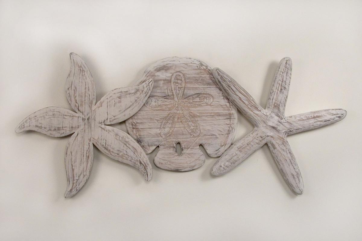 Nautical Sand Dollar and Starfish Wall Sculpture