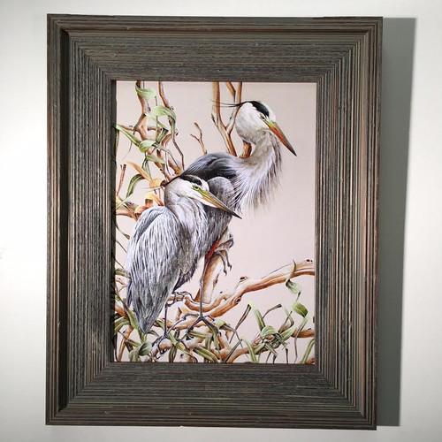 "Herons in Branch Framed Artwork 21"" x 17"""