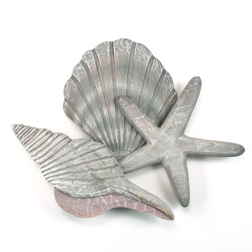 Large Wooden Shell Wall Sculpture Gray CW052