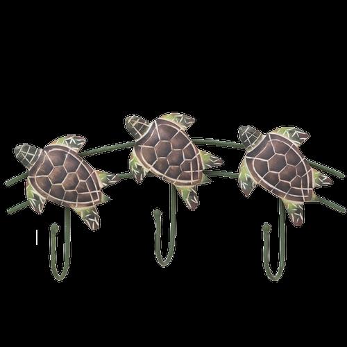 Hand Carved Wooden Sea Turtles Triple Hooks