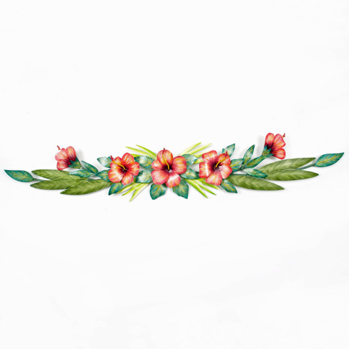 Hibiscus Swag Metal Wall Art