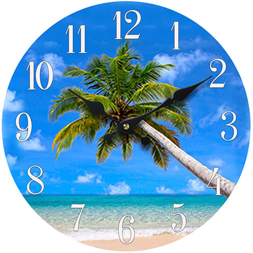 Glass Clock Palm Tree