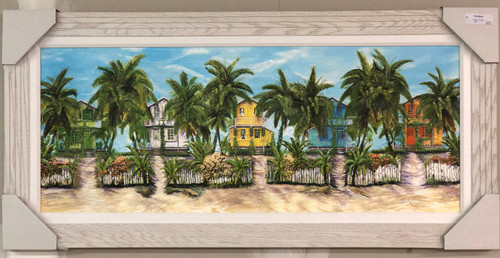 "Caribbean Village Painting 45"" x 22"""