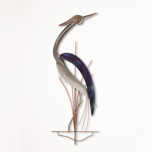 Single Metal Wall Heron Facing Right  XIO100RW