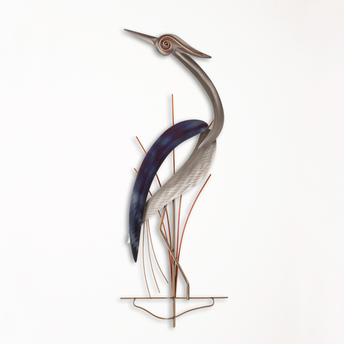 Single Metal Wall Heron Facing Left XIO100LW