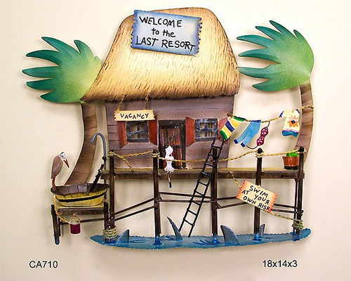 Tiki Hut Tropical Resort Metal Wall Sculpture CA710