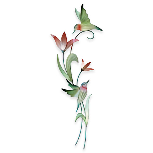 Stainless steel Hummingbirds on a Flowering Branch Wall Art CO157