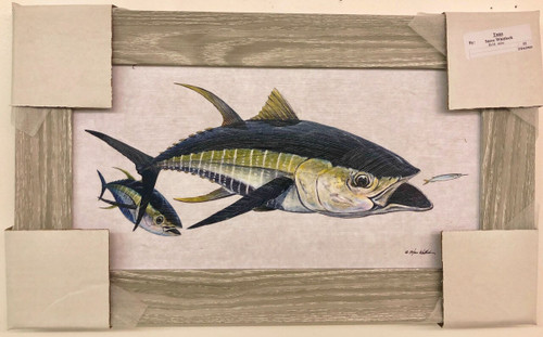 "Large Tuna Feeding Painting 51"" x 31"""