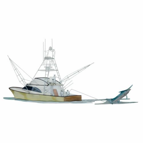 Hooked Up!   Fishing Boat with Marlin Coastal Metal Wall Sculpture MM207