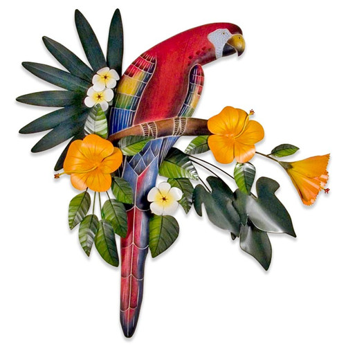Red Macaw in Hibiscus Tree CW248