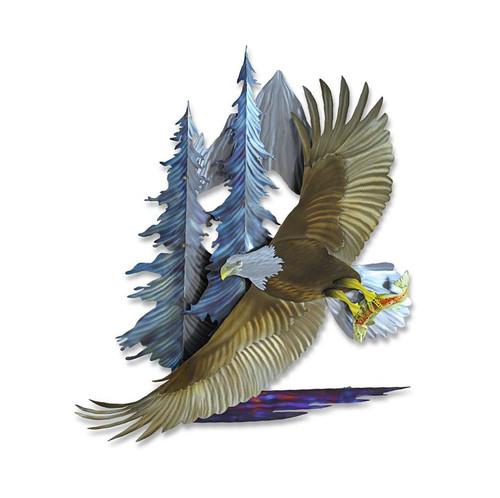 Bald Eagle flying over Pine Forest MM253