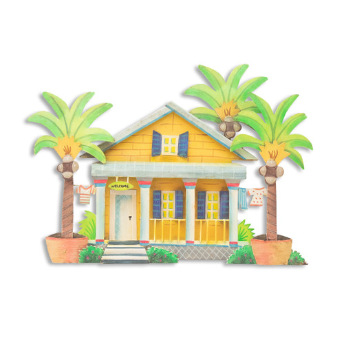 Caribbean Cottage, Yellow - Metal Wall Art