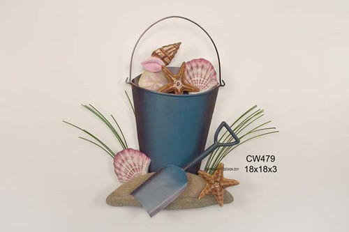 Beach Bucket of Shells - Coastal Wall Art