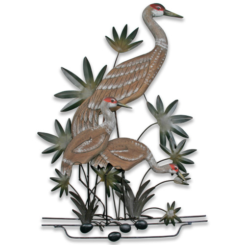 Sandhill Crane Family Wall Sculpture