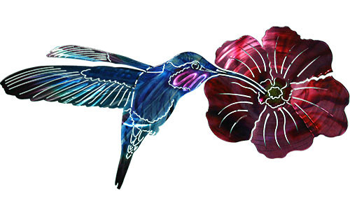 3D Hummingbird With Flower - Metal Wall Art