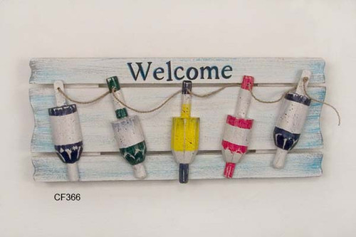 Wooden Buoy Sign Welcome