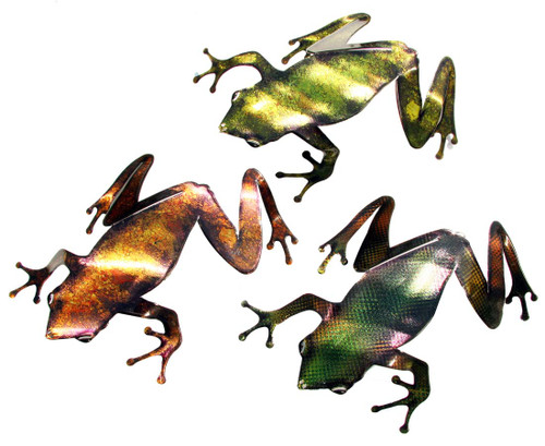 3D Metal Wall Frogs Set of 3