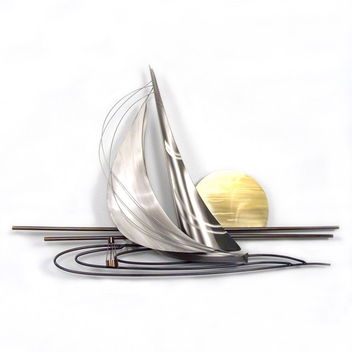 Sunset Sailboat Stainless Steel Wall Sculpture